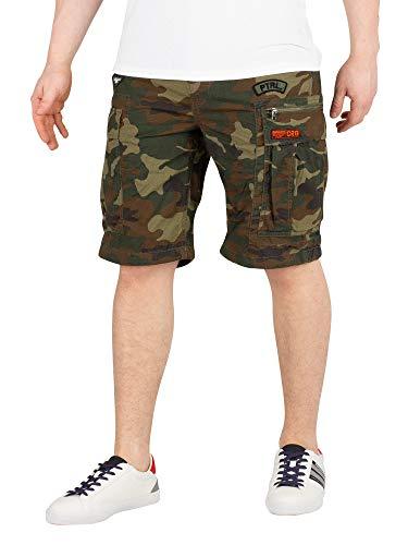 Superdry Herren Parachute Cargo Shorts, Grün (Olive Alpine Camo Red), Gr. 30
