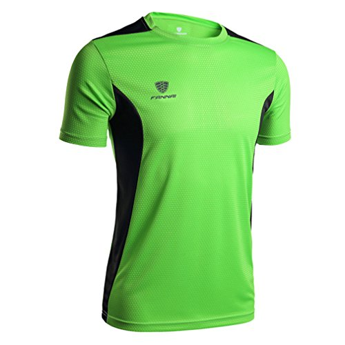 emansmoer Hommes Manches Courtes O-Neck Sports T-Shirts Respirant Élégant Séchage Rapide Wicking Tee Shirt Running Camping T-Shirt Tops (M, Vert)