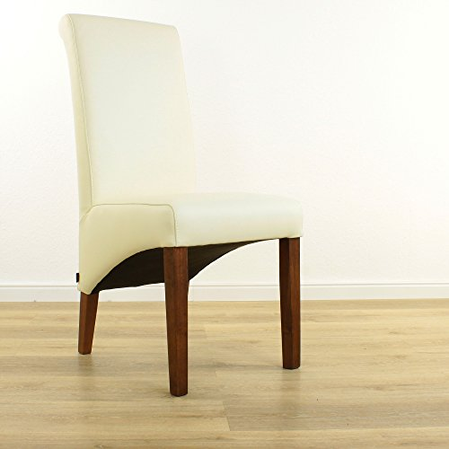 EMAN Möbelvertrieb Lederstuhl Felice Leder Creme Weiß Stuhlbeine Nussbaum Lederstühle Stühle Stuhl NEU