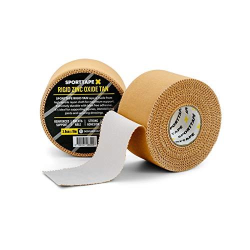 3 Rollen SPORTTAPE Premium Zinkoxid-Bräunungsband - 3,8 cm x 10 m - Athletisches Umreifungsband mit höchster Zugfestigkeit, Blasenschutzband, medizinisches Knöchelband