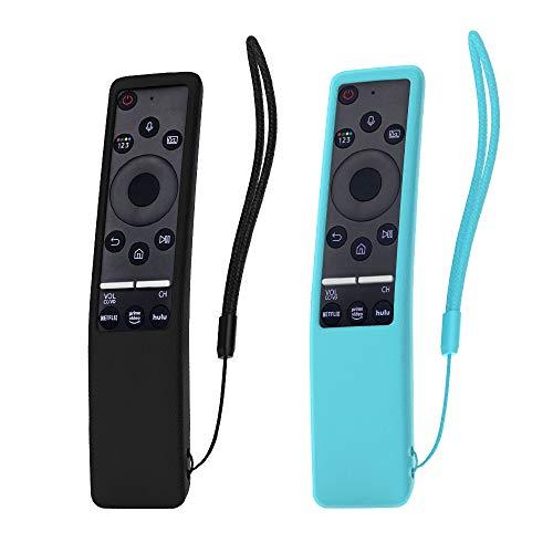 SIKAI 2-Pack Flessibile Custodia Telecomando Compatibile con Samsung 4K UHD Smart TV Serie 6 BN59-01242A Telecomando Cover in Silicone Pieno Protettivo Conchiglia (Nero-Luminoso Blu)