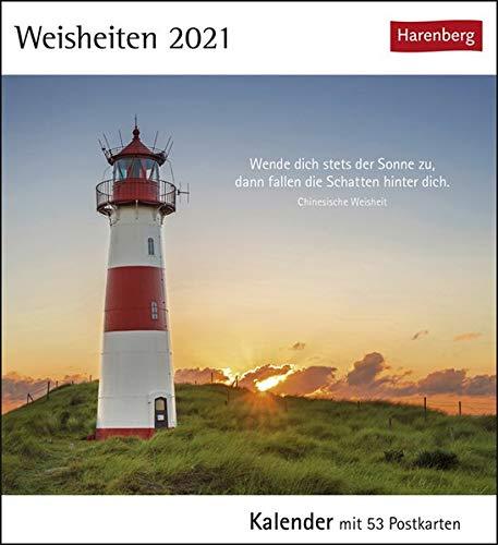 Weisheiten - Postkartenkalender 2021 - Postkartenkalender mit Wochenkalendarium - 53 perforierte Postkarten zum Heraustrennen - zum Aufstellen oder Aufhängen - Format 12 x 15 cm