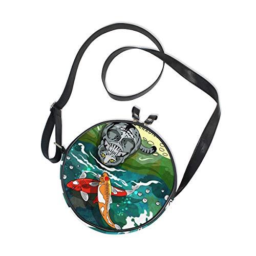 Ahomy Umhängetasche für Mädchen, mit Katzenfischen, rund