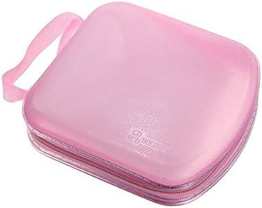 WINOMO Portable, en plastique transparent, pour 40 CD, DVD, VCD, étui de rangement (rose)