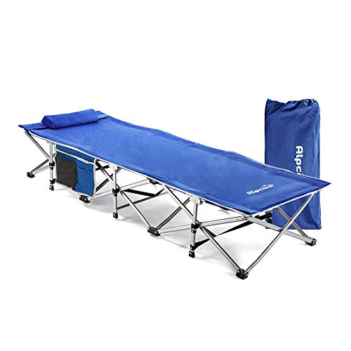 Alpcour Folding Camping Cot - Extra Strong Single Person Small-Collapsing Bed in a Bag w/Pillow for Indoor & Outdoor Use - Deluxe Comfortable Extra Heavy Duty Design Holds Adults & Kids Up to 440 Lbs