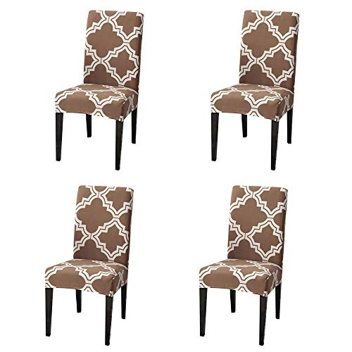 Hfduo Chair Covers for Dining Room, Elastic Stretch Removable Washable Chair Protective Covers, Dining Chair Slipcovers Chair Protector for Office Restaurant Home Decor(4pieces)