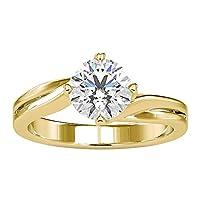 1.3 Ct 認定モアッサナイトスパイラルシャンクリングユニークブライダル結婚指輪 DE-VS1 カラークラリティ宝石ソリテールリングクラシックハートゴールド女性指輪, 10K イエローゴールド, Size: 17