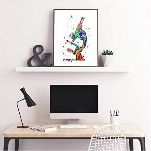 Rjunjie microscoop aquarel kunst canvas schilderij afbeelding wetenschappers Gift microbiologie microscoop poster kantoor kunst decor (40x60 cm geen lijst)