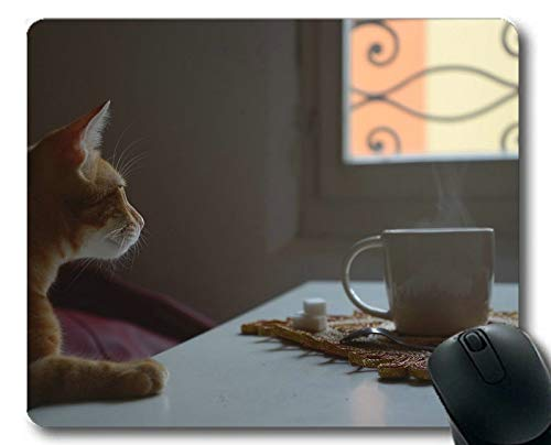 Mauspad, Tassenlöffel Zuckertabelle Katze Fenster Tee Mauspad, Mauspad für Computer cat064