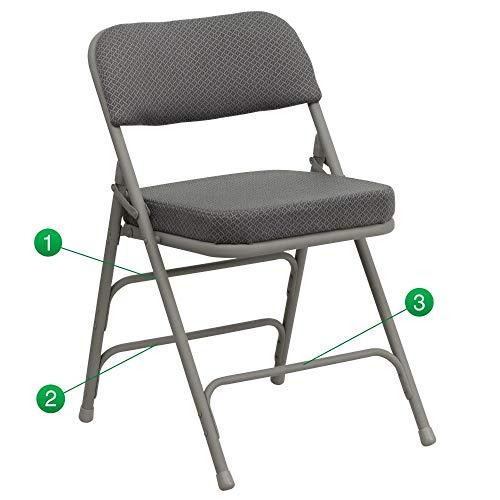 Flash Furniture 2 Pk. HERCULES Series Premium Curved Triple Braced & Double Hinged Gray Fabric Metal Folding Chair -