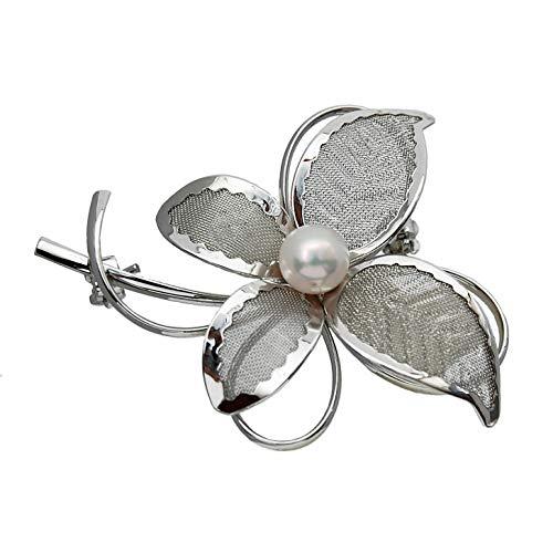 [enyapearl]アコヤ真珠 ブローチ お花のデザイン ABR409 パール ブローチ
