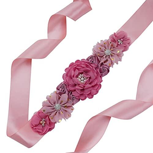 Cinturón de satén elegante para mujer con fajín de flores hecho a...