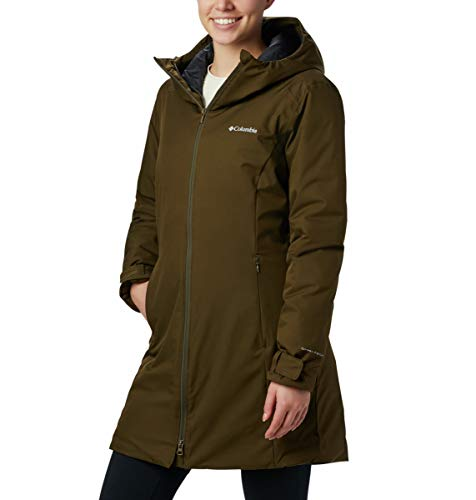 Columbia Autumn Rise, Chaqueta impermeable de longitud media, Mujer, Azul/Amarillo (Collegiate Navy, Canyon Gold), Talla S