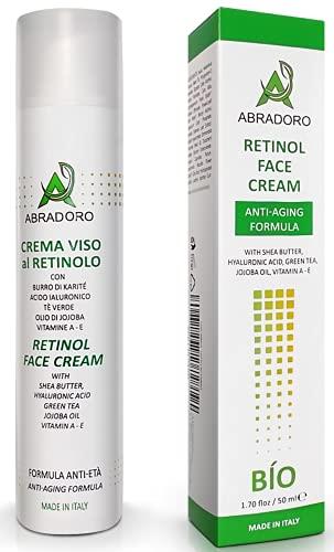 Abradoro Crema Viso Idratante Bio Antirughe e Antietà con Acido Ialuronico Puro e Retinolo Anche per Pelle Sensibile 50 gr