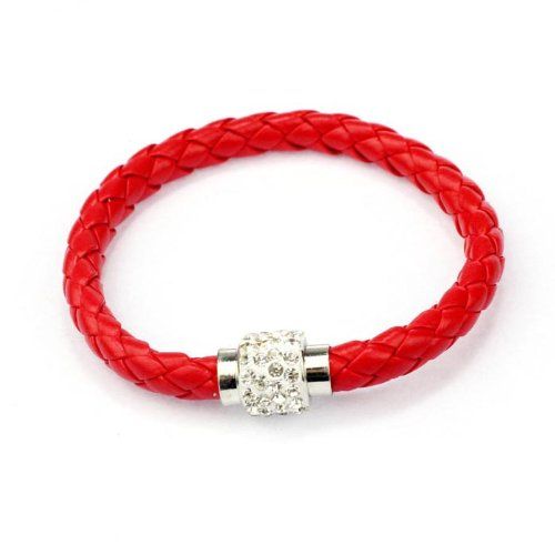 DAY.LIN Armband Damen Armbänder 1PC Armband Magnetische Strass Schnalle Leder Wrap Armband Armreif (D)
