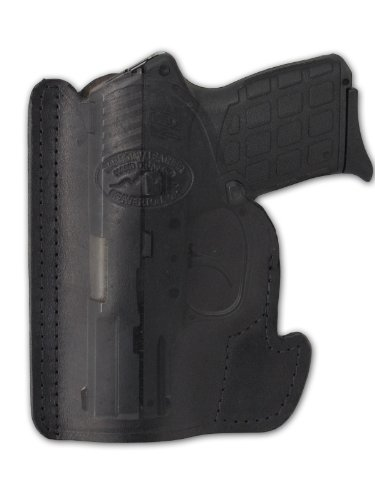 Barsony New Black Leather Pocket Holster for Small .380 Ultra-Compact 9mm 40 45 Pistols (Kimber Micro 9mm)