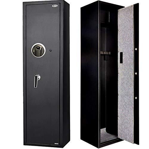 Moutec Large Biometric Rifle Gun Safe, Quick Access Fingerprint Rifle Gun Safe, 5-Gun Metal Rifle Gun Security Cabinet for Rifle with/Without Scope with Separate Pistol/Handgun Lock Box