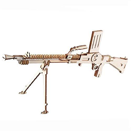 Pistolas Madera de la ametralladora decoración de escritorio interés Desarrollo regalo de los niños del rompecabezas 3d rompecabezas de madera maciza Modelo de bricolaje for niños bandas ( Col