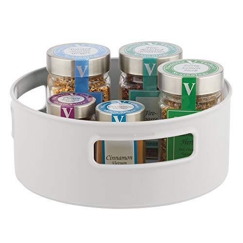 mDesign - Draaiplateau - carrousel/kruidenrek - ideale opberger in de keuken voor spijsolie, ingrediënten, kruiden, specerijen, flesjes en potjes - steen