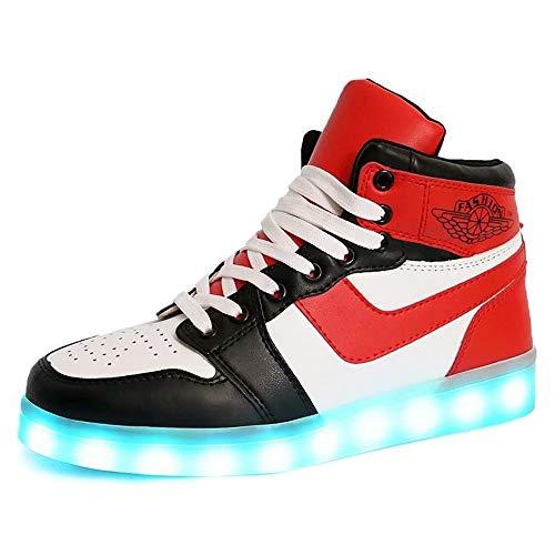 Temptation at dusk zy Leuchte Schuhe,LED Schuhe 7 Farbe USB Auflade Leuchtend Sportschuhe LED Sneaker Turnschuhe Unisex Energy Lights Ausbilder High-Top Licht Blinkt Sneaker Mit(33-44) Red-41