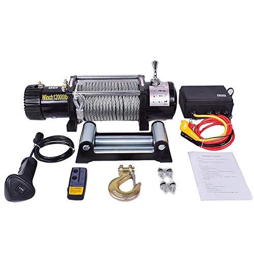 LiChenY Electric Waterproof Winch 12V / 24V Seilhebezug - Hochleistung Reiner Kupfermotor - Wireless/Griff Dual Verwenden Fernbedienung Winde für Auto, LKW, Boot, Camper (Color : 12V, Size : 12000lb)
