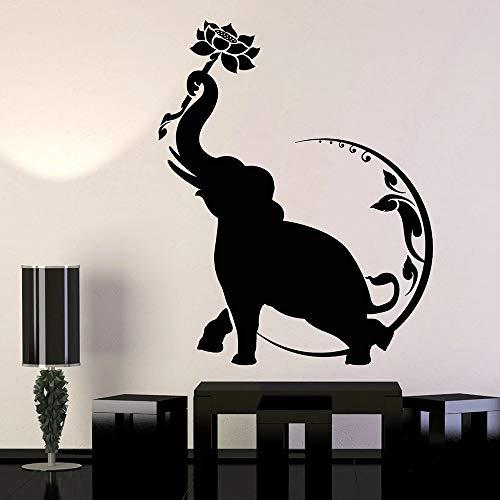 WERWN Yoga meditación Pared Elefante Indio Lotus Moon Budista Yoga Vinilo Pared Pegatina diseño de decoración de Interiores