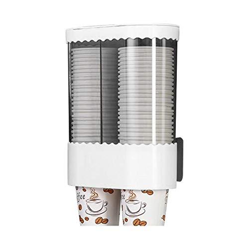 POHOVE Dispensador de taza de enfriador de agua,Tirar tipo taza titular montado en la pared,Copas desechables de doble tubo autoadhesivo para diseño antipolvo capacidad de taza de papel 80