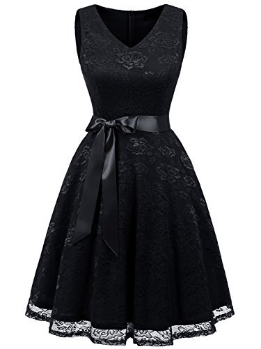IVNIS RS90025 Damen Ärmellos Vintage Spitzen Abendkleider Cocktail Party Floral Kleid Black XL