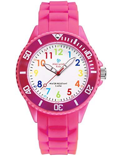 Alienwork Kids Reloj de Aprendizaje Infantil Niña Rosa Pulsera de Silicona Abigarrado niños Impermeable 5 ATM