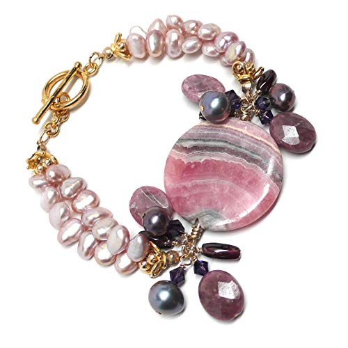 Sterling Silver Fashion Statement Bracelet with Garnet Gemstone in Center at an Incredible Price.