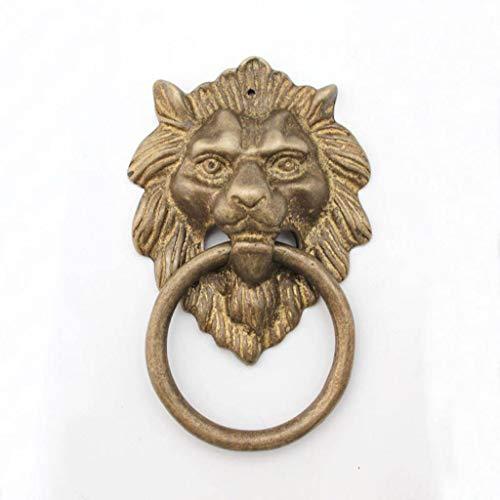 Antik Löwenkopf türklopfer, Löwenkopf Behandeln Klein Ring ziehen Türbeschlag Hardware Haustür Holztür Hof-Bronze