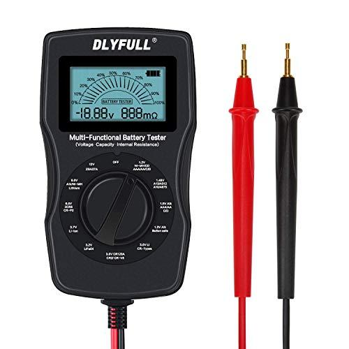 X-cosrack Comprobador universal de batería con conductores pantalla digital LCD, capacidad de la batería, monitor de resistencia de voltaje para pilas AA AAA C D 9 V 3.7 V Li-ion