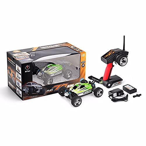 JIANGLL Coche de Control Remoto de Carga USB eléctrico 1/18 Vehículo RC 70 km/h Camión RC Todo Terreno de absorción de Impactos suspendido Regalo de cumpleaños para niños de 8 a 12 años en Buggy RC