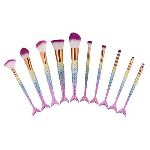 Pinceaux Maquillage Kit de 10 PCS, SHARLLY Kit de Brosses de Maquillage Design Sirène Rainbow Sets Beauté Outils Doux et soyeux avec haute densité Pour Toute la Peau, Incluse un Sac
