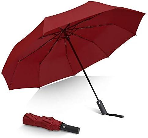 Brainstorming Travel Umbrella Windproof with Teflon Coating 9 Ribs Compact Auto Folding Umbrella product image