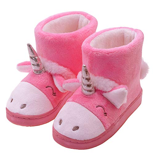 Girl's Slippers Cozy Warm Plush Cute Unicorn Winter Indoor Outdoor Slippers Size Toddler 8 US Pink Unicorn