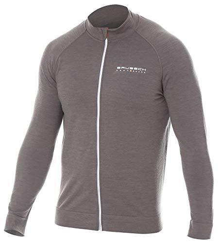 BRUBECK Herren Langarmshirt atmungsaktiv | Full Zipper Jacket Sport | Trainingsjacke für Männer I Fahrrad I graue Sportjacke atmungsaktiv I Radsport I 38% Merino | Gr. XL, Grey I LS13330