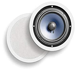 """Polk Audio RC80i 2-way Premium In-Ceiling 8"""" Round Speakers, Set of 2 Perfect for Damp and Humid Indoor/Outdoor Placement - Bath, Kitchen, Covered Porches (White, Paintable Grille) (B00006BMQT) 