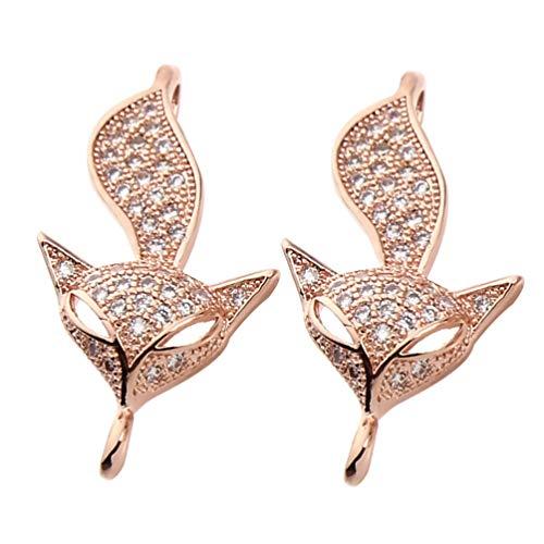 EXCEART Tier Spacer Perlen Strass Fuchs Perlen Anschluss Charm Perlen für Armband Halskette Ohrringe Schmuckherstellung Lieferungen 2 Stück (Roségold)