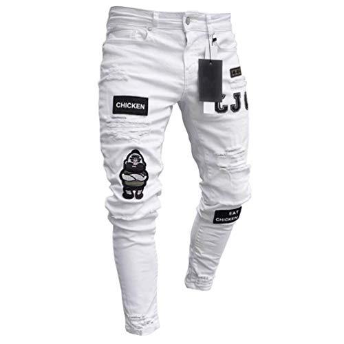 Feidaeu Pantalon décontracté pour Hommes Style brisé rétro Stretch Confortable Lumière Tear Tight Cyclisme Motif de Broderie Pantalon