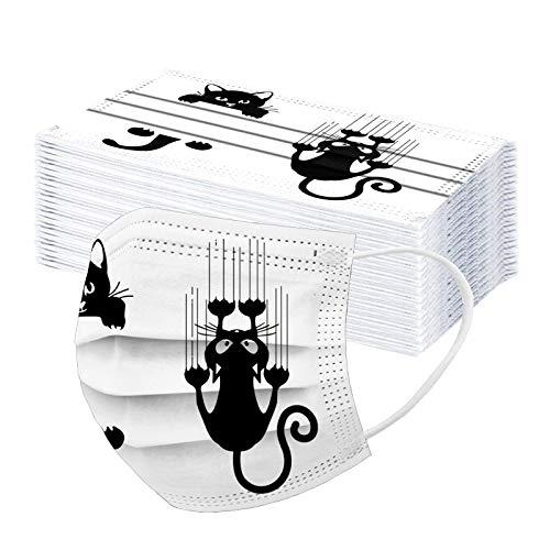 Lulupi 50 Stück Katze Mundschutz Multifunktionstuch Lustig Einweg Mund Nasenschutz Einmal Katzenmotiv Tiermotiv Bandana Mundbedeckung 3-lagig Staubschutz Atmungsaktive Face Halstuch Schals