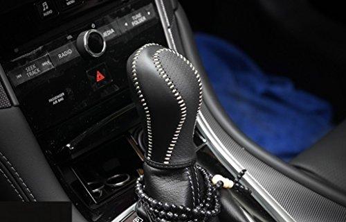 Black+Red Leather Genuine Leather Automatic at Gear Shift Knob Cover Protector Trim Fit Infiniti FX35 QX56 QX80 QX70 QX50 Q60 Q40 FX37 EX37 EX25 IPLG G25