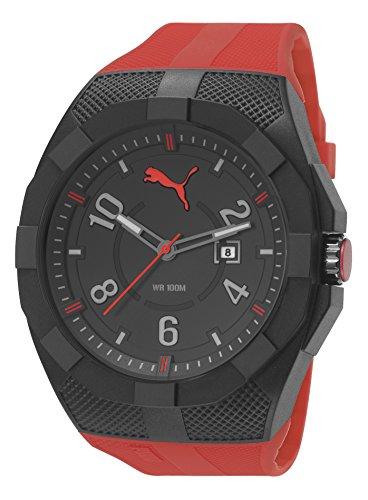 Puma Iconic - Reloj análogico de cuarzo con correa de poliuretano para hombre, color rojo/negro