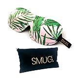 SMUG 100% Blackout Sleep Mask & Storage Bag Gift Set   Eyelash Friendly Eye Mask Cover for Men & Women   3D Contoured Design for Deep Sleeping   Adjustable Velcro Straps   Palm Tree Print