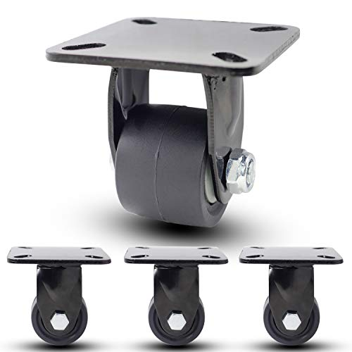 Casoter 2 Inch Black Low Gravity Center Nylon Caster, 32mm Extra Width Hi-Temp Nylon Wheel Top Plate Rigid No Brake Heavy Duty Double Ball Bearing Caster, 2700Lbs Total Load Capacity 4-Pack