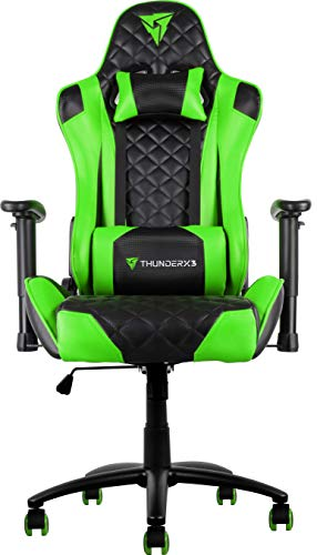 ThunderX3 TGC12, Silla Gaming Profesional, Cuero Sintetico, Reclinable, Verde