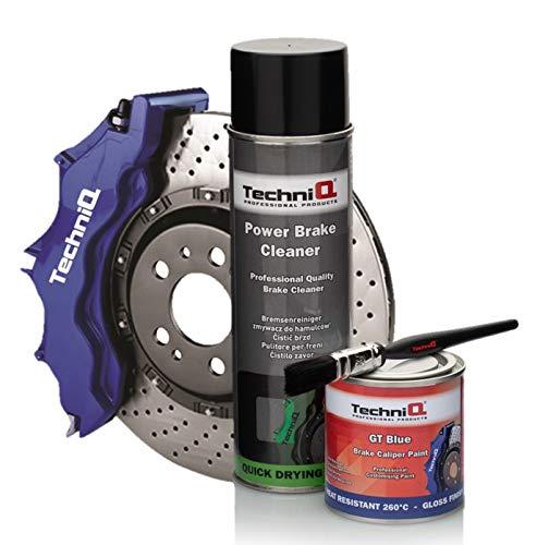 TechniQ GT Caliper Farbe, 250 ml + Bremsenreiniger & Pinsel, Blau (glänzend)
