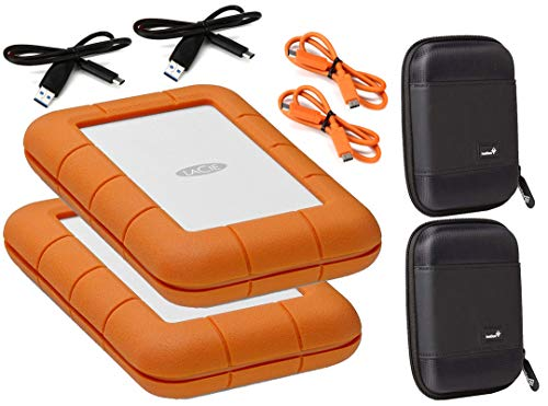 LaCie 2 Pack USB-C 5TB Rugged Thunderbolt (USB 3.0 and USB 2.0 Compatible) External Hard Drives Compatible with Mac and PC - Water and Drop Resistance with Compact Pocket Cases