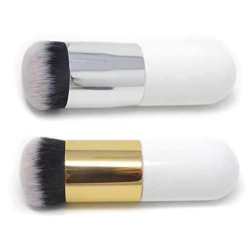 HONBAY 2PCS Portable Big Round Head Makeup Brush Beauty Cosmetic Brush Foundation Brush Blush Brush Face Powder Brush BB Cream Brush for Daily Use or Travel