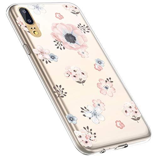 MoreChioce kompatibel mit Huawei P20 Hülle,kompatibel mit Huawei P20 Hülle Transparent,Kreativ Muster Kratzfest TPU Flexible Weiche Silikon Handyhülle Flexible Gel Defender Bumper,Blume #7